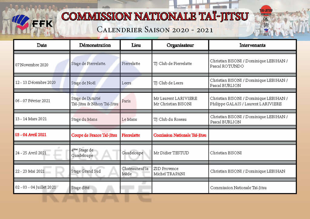 Stages et compétitions Commission Nationale 2020-2021
