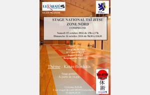STAGE NATIONAL TAÏ-JITSU ZONE NORD - 15 ET 16 OCTOBRE 2016